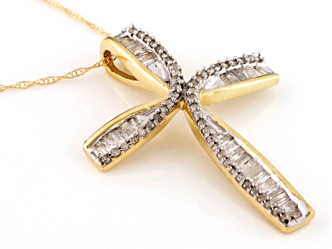 White Diamond Pendant 10k Yellow Gold .50ctw