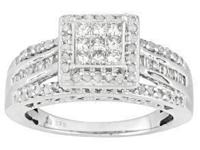 Diamond Rhodium Over Sterling Silver Ring 1.00ctw