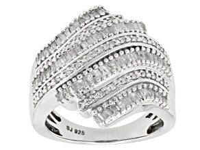 Diamond Rhodium Over Sterling Silver Ring .95ctw