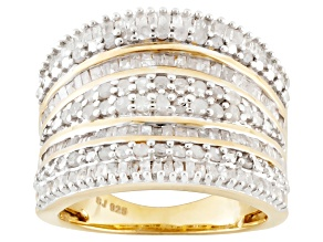 Diamond, 14k Yellow Gold Over Sterling Silver Ring, 1.70ctw