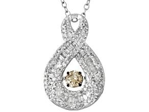 Champagne And White Diamond Silver Pendant .75ctw