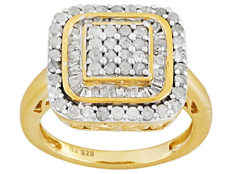 Diamond 14k Yellow Gold Over Silver Ring 1.00ctw