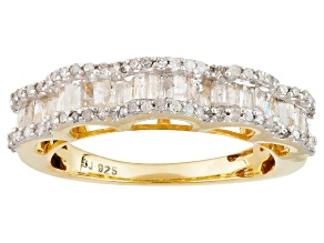 14k Yellow Gold Over Sterling Silver Diamond Ring .70ctw