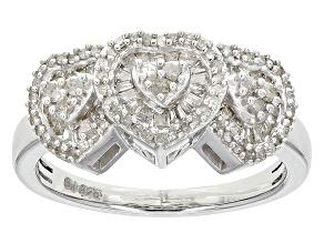 Diamond Silver Ring .70ctw