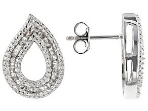 Diamond Silver Earrings .60ctw