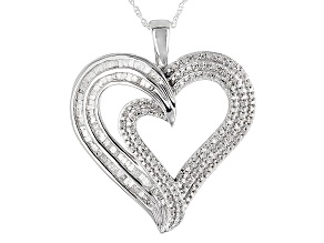 Rhodium Over Sterling Silver Diamond Pendnant With Chain .85ctw