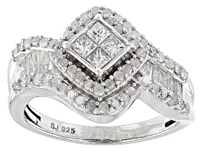 Rhodium Over Sterling Ilver Diamond Ring 1.10ctw