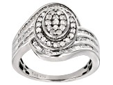 Diamond Rhodium Over Sterling Silver Ring .85ctw