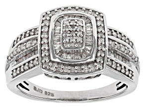 Diamond Rhodium Over Sterling Silver Ring .55ctw