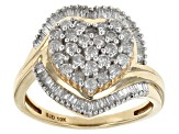 White Diamond 10k Yellow Gold Ring .85ctw