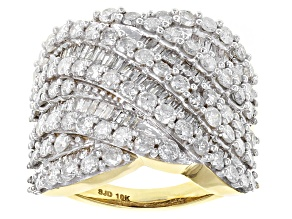 White Diamond 10k Yellow Gold Ring 3.20ctw