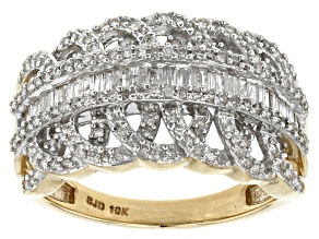 White Diamond 10k Yellow Gold Ring .70ctw