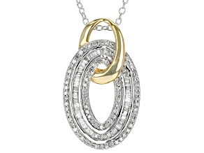 White Diamond Rhodium And 14k Yellow Gold Over Sterling Silver Pendant .40ctw