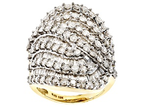 White Diamond 10k Yellow Gold Ring 3.85ctw