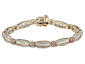 Champagne And White Diamond 10k Yellow Gold Bracelet 3.90ctw