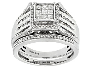 White Diamond Rhodium Over Sterling Silver Ring With Band .70ctw