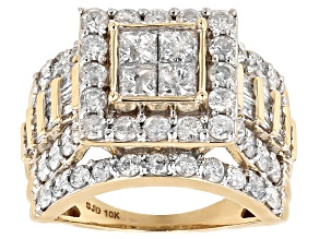 White Diamond 10k Yellow Gold Ring 2.95ctw