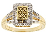 Yellow And White Diamond 14k Yellow Gold Over Sterling Silver Ring .40ctw
