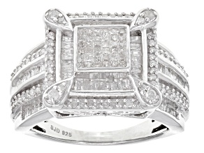 White Diamond Rhodium Over Sterling Silver Ring .90ctw