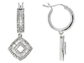White Diamond Rhodium Over Sterling Silver Earrings .90ctw
