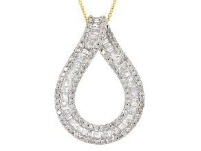 White Diamond 10k Yellow Gold Pendant 1.55ctw