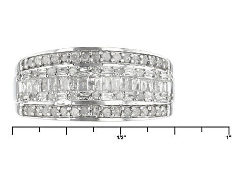 White Diamond Rhodium Over Sterling Silver Ring .75ctw