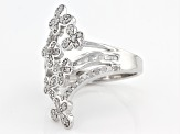 White Diamond Rhodium Over Sterling Silver Ring .65ctw