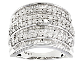 White Diamond Rhodium Over Sterling Silver Ring 1.75ctw