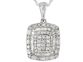 White Diamond Rhodium Over Sterling Silver Pendant .60ctw