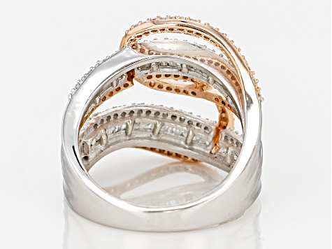 White Diamond Rhodium And 14k Rose Gold Over Sterling Silver Ring .95ctw