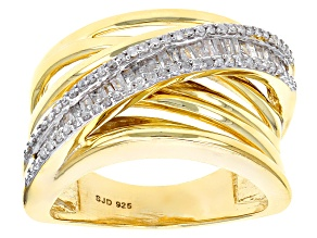 White Diamond 14k Yellow Gold Over Sterling Silver Ring .40ctw