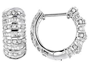 White Diamond Rhodium Over Sterling Silver Earrings .90ctw