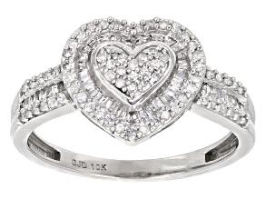 White Diamond 10k White Gold Ring .45ctw