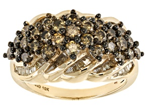 Champagne And White Diamond 10k Yellow Gold Ring 1.90ctw
