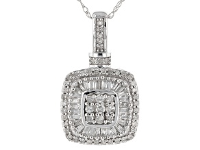 White Diamond 10k White Gold Pendant .45ctw