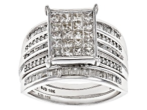 White Diamond 10k White Gold Ring With 2 Matching Bands 1.45ctw
