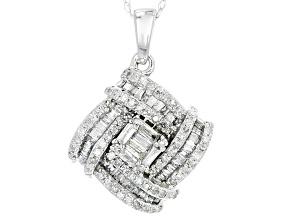White Diamond 10k White Gold Pendant .60ctw