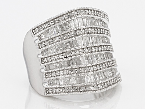 White Diamond Rhodium Over Sterling Silver Ring 1.55ctw