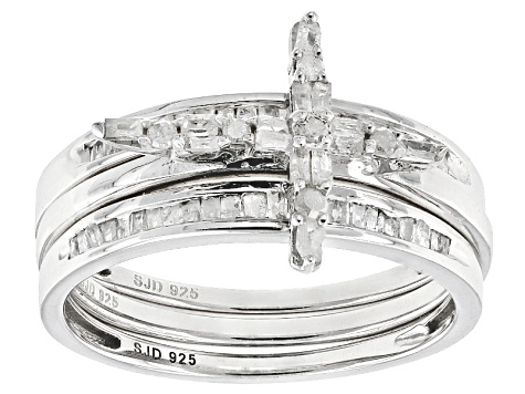 White Diamond Rhodium Over Sterling Silver Ring With 2 Matching Bands .50ctw