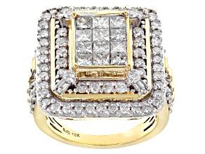 White Diamond 10k Yellow Gold Ring 2.80ctw