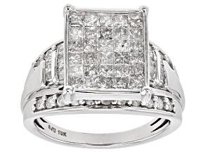 White Diamond 10k White Gold Ring 1.65ctw