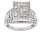 White Diamond 10k White Gold Ring 1.65ctw