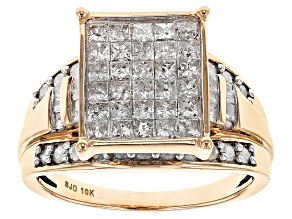 White Diamond 10k Yellow Gold Ring 1.65ctw