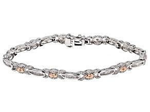 White Diamond Rhodium And 14k Rose Gold Over Sterling Silver Bracelet 1.60ctw