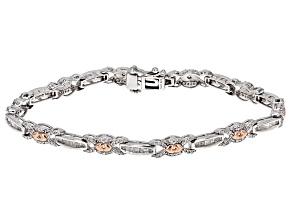 White Diamond Rhodium And 14k Rose Gold Over Sterling Silver Bracelet 1.60ctw