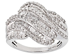 White Diamond Rhodium Over Sterling Silver Ring 1.45ctw