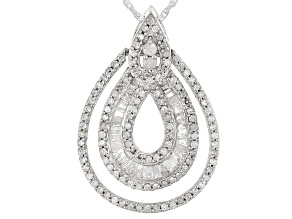 White Diamond Rhodium Over Sterling Silver Pendant .70ctw