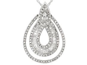 White Diamond Rhodium Over Sterling Silver Pendant .70ctw
