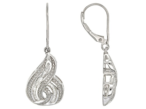 White Diamond Rhodium Over Sterling Silver Earrings .25ctw