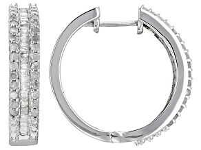 White Diamond Rhodium Over Sterling Silver Earrings 1.00ctw